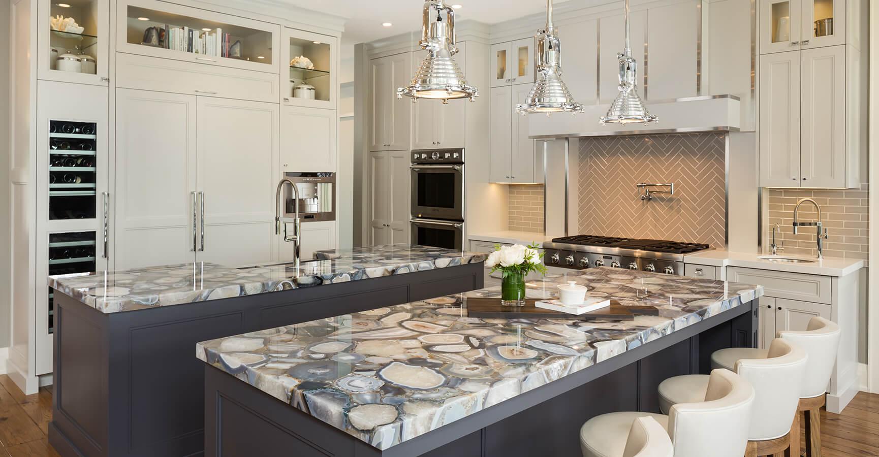 Custom Kitchen Design With Breakfast Bar