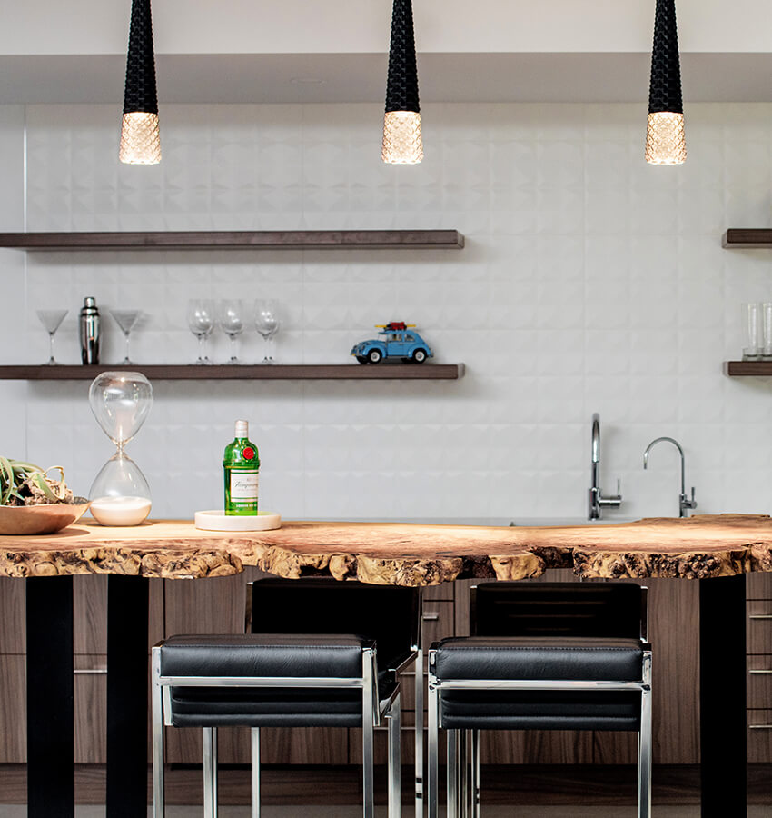 Basement Bar Table & Bar Stools