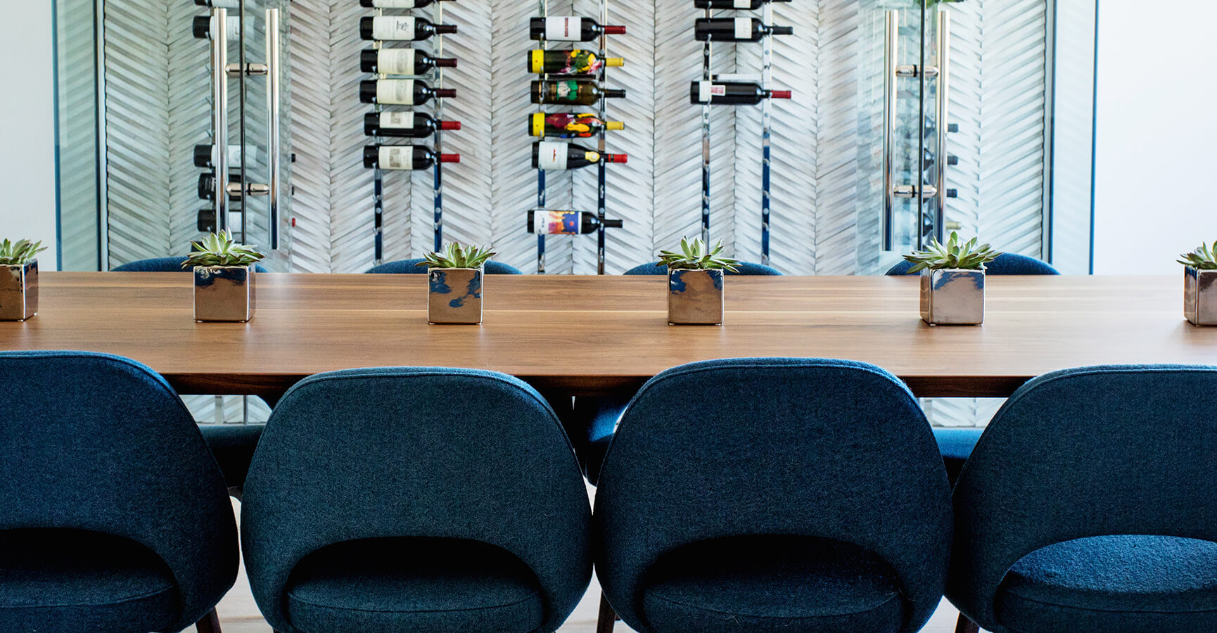 Dining Room Table With Chairs and Wine Rack