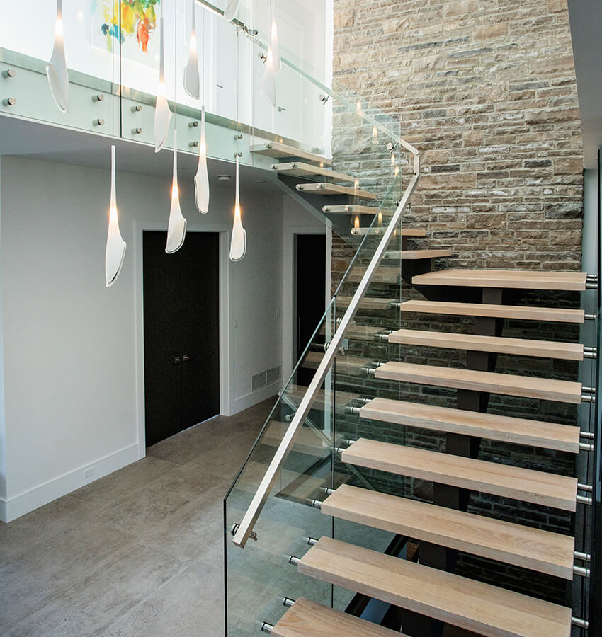 Modern Staircase and Light Fixtures