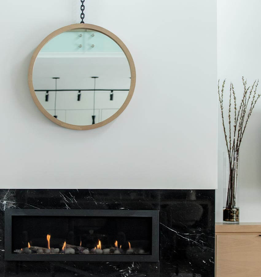 Living Room Fireplace and Mirror