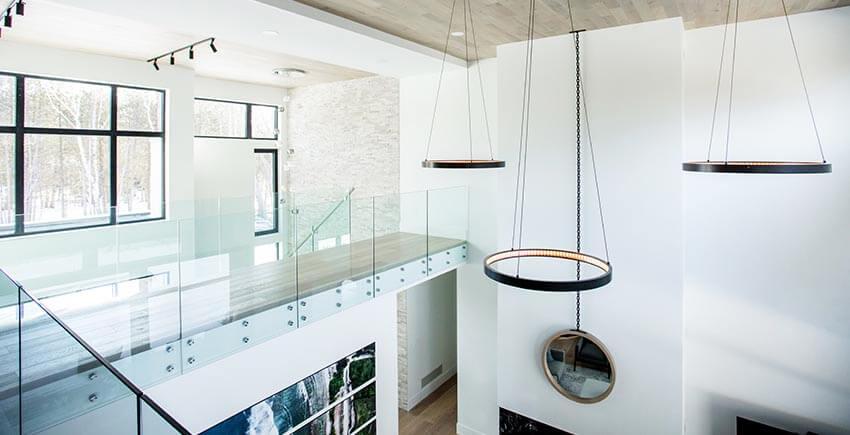 Modern Light Fixtures, Hallway and Living Room