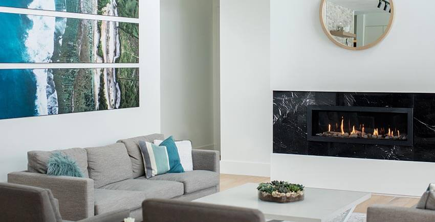 Modern Living Room Sofa and Fireplace