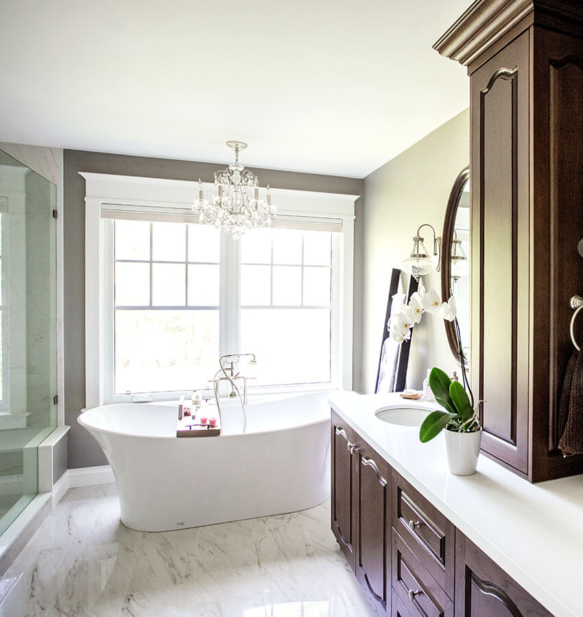 Bathroom Vanity, Storage, Freestanding Bathtub and Shower