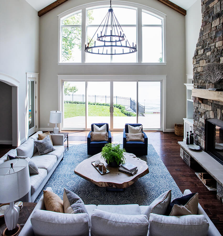 Waterfront Living Room Fireplace