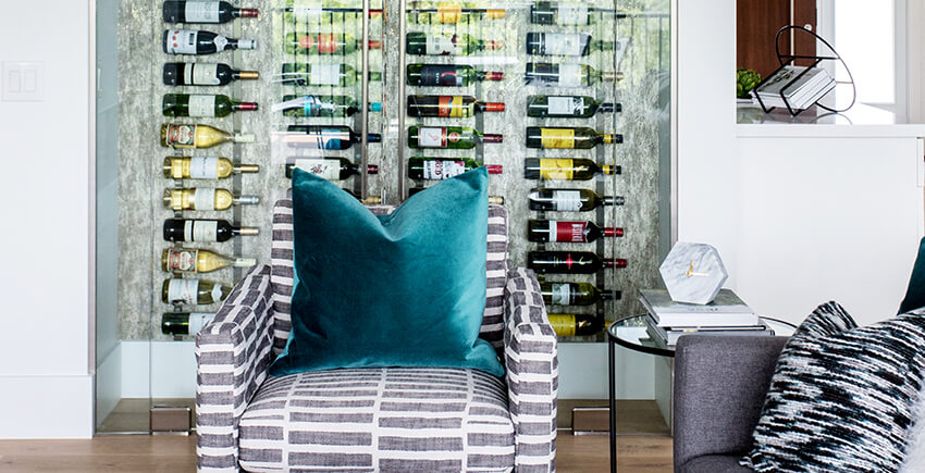 Glass Wine Rack and Sofa Armchair