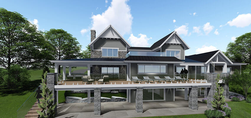 Traditional House Exterior Rendering Back