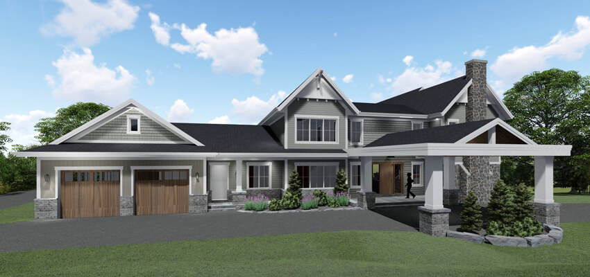 Traditional House Exterior Rendering Front
