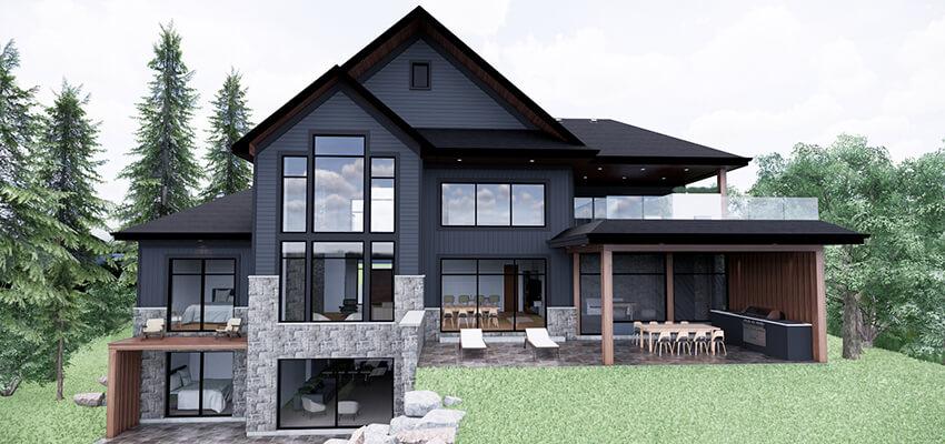 Modern House Rendering Back