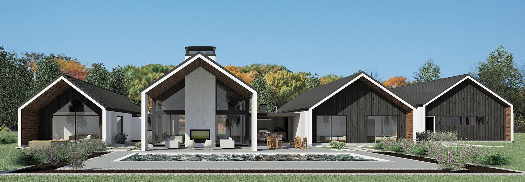 Modern Large Window Home Rendering