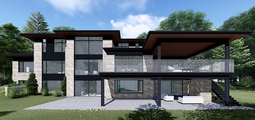 Modern Home Exterior Rendering Back