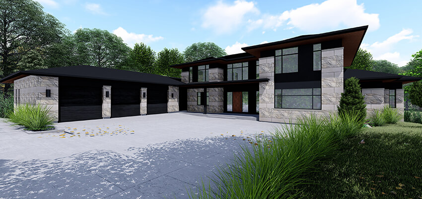 Modern Home Exterior Rendering Front