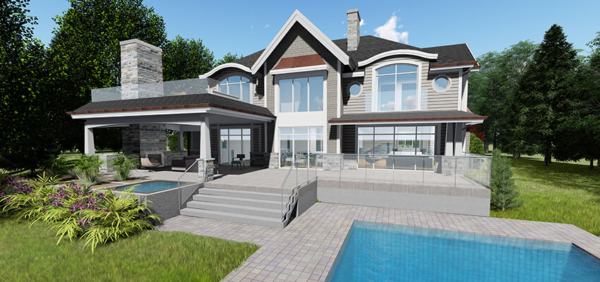 Traditional Home Architectural Rendering Back