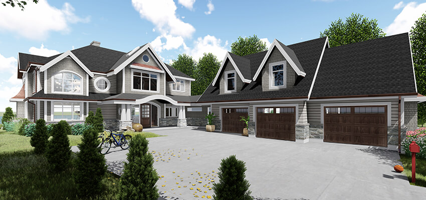 Traditional Home Architectural Rendering Front