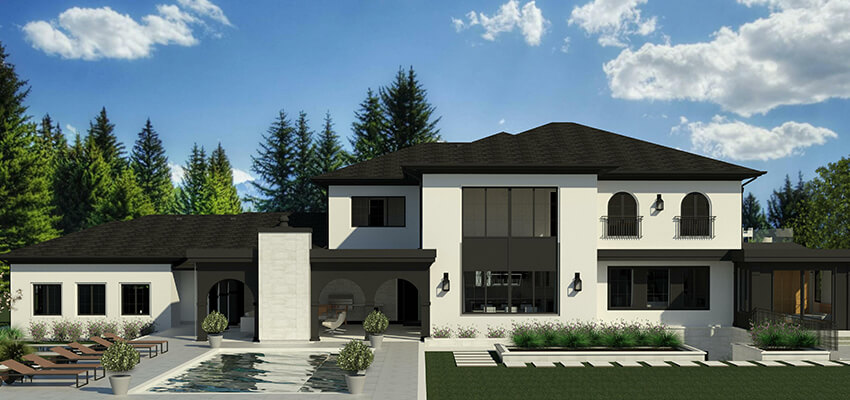 Modern Exterior Architecture Rendering Back