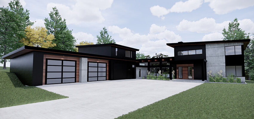 Modern Architectural Rendering Front