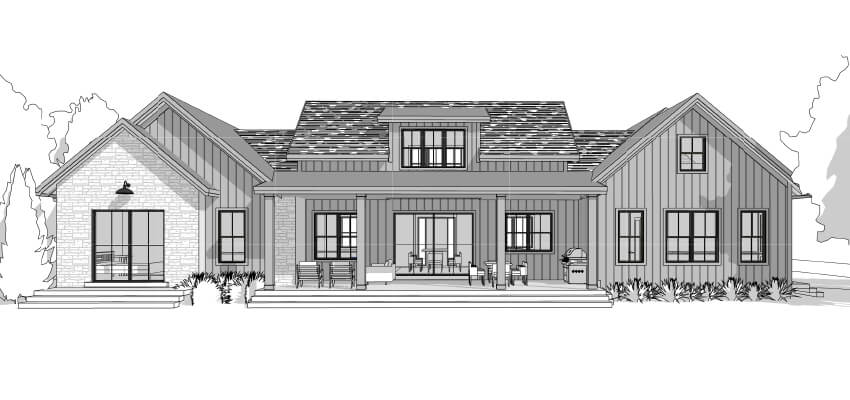 Architecture Farm House Drawing Back