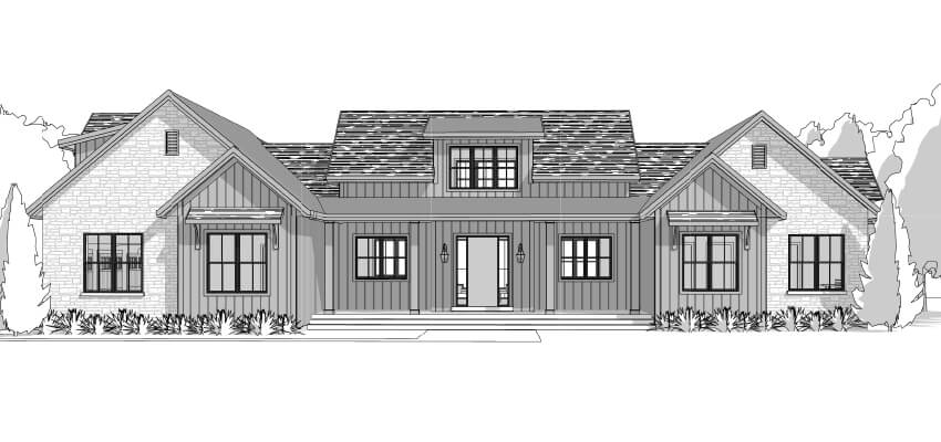 Architecture Farm House Drawing Front