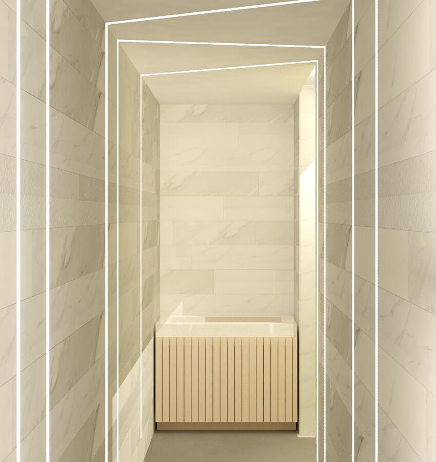 Spa Hallway Design Rendering